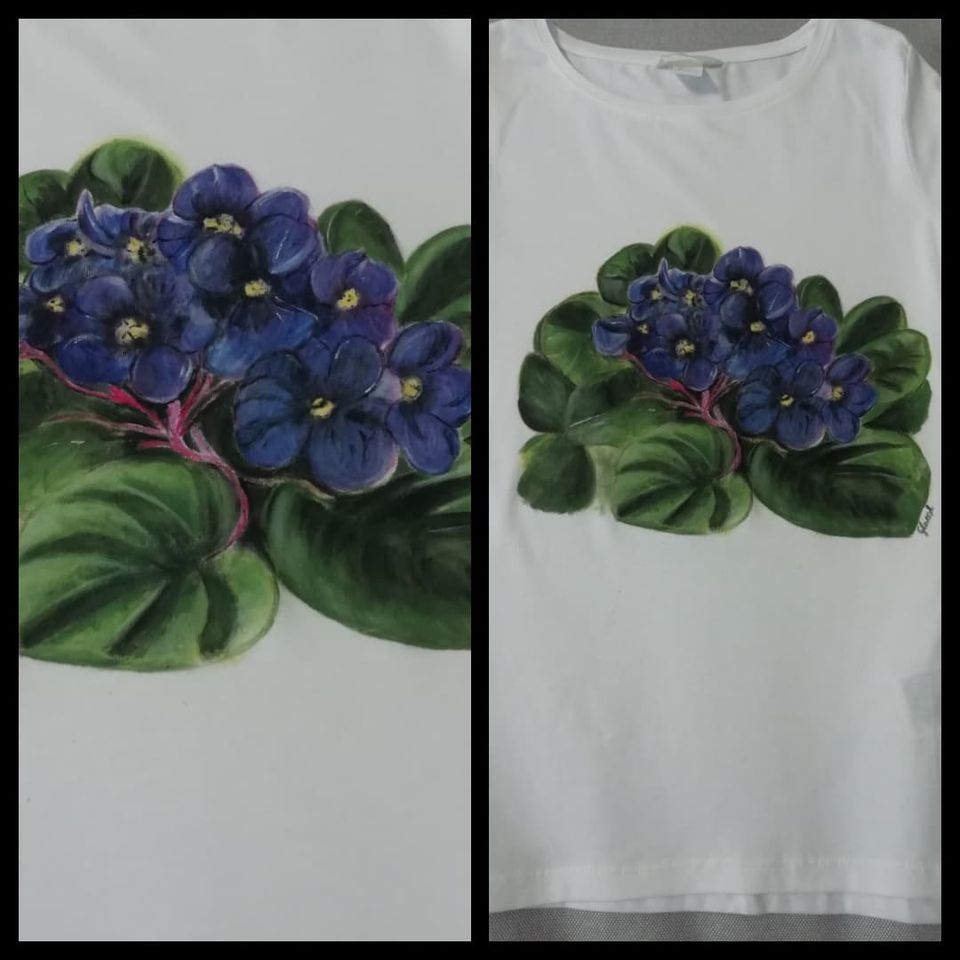 fokföldi ibolya - egyedi ajándék - festett póló