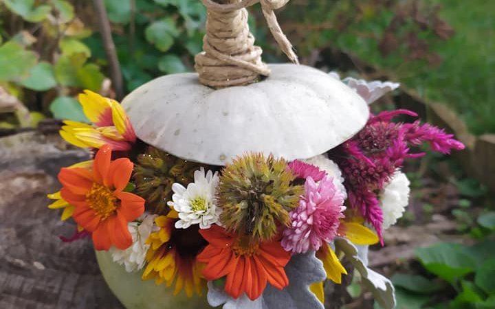 DIY: Sütőtök dekoráció kerti virágokból